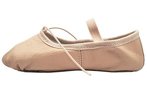 DANCEYOU Balletschläppchen aus Leder Ballettschuhe Pink Gymnastikschläppchen mit Geteilter Sohle/Ganzer Sohle Tanzschuhe für Damen und Kinder 190 EU30