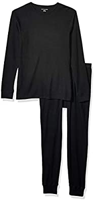 Amazon Essentials Men's Thermal Long Underwear Set, Black Small