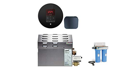 Buy Mr Steam - Steam Bath Generator Package in Round Black Finish with Automatic Flush Valve - Dual ...