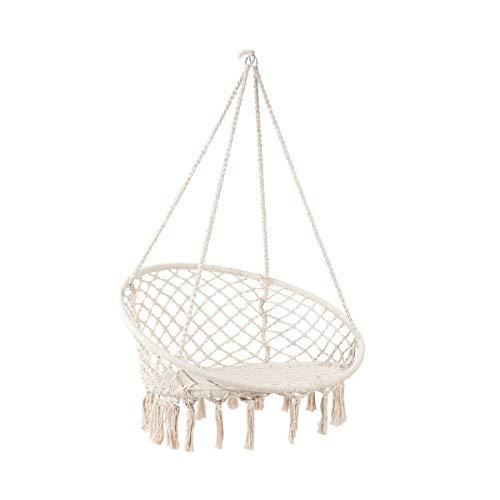 Butlers Paradise Now Hängesessel mit Fransen 145x100 cm - Creme Weißer Sessel zum Aufhängen bis 100 kg - Hängematte