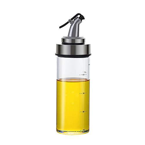 MXSM Dispensador de Aceite de Oliva, Juego de Dispensador de Aceite y Vinagre, Botellas de Vidrio Transparente, Botella de Aceite, Fácil Recarga y Limpieza, Sin Goteo,180ml