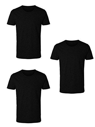 Enrico Coveri 3 t-Shirt Uomo Mezza Manica Girocollo Caldo Cotone Interlock Art. ET1200 (6/XL, Nero)