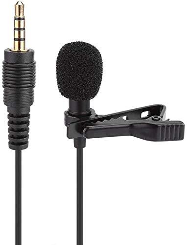 PFTHDE Micrófono de Condensador Manos Libres con Clip de Solapa con Cable de 3,5 mm Mini micrófono para grabación/discursos/entrevistas/Podcast