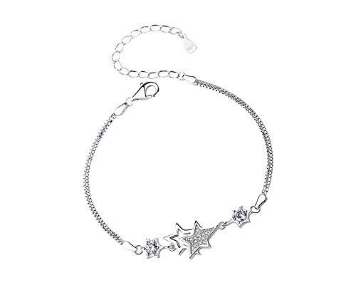 Pulsera de plata de ley con diseño de estrella gemela para niñas y mujeres