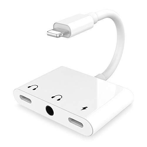 3.5mm Headphone Jack Audio Adapter Fast Charge Splitter,3 in 1 Headphone and Charger Audio Adapter Splitter Compatible for iPhone SE/11/XS/X/8/8P/7/7P-(White)