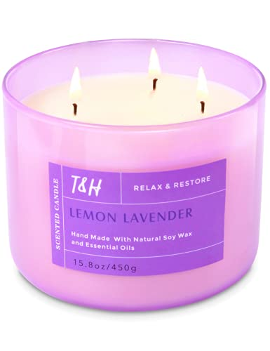 Large 3 Wick Candles for Home Scented Lemon Lavender Essential Oil Candle | Stress Relief Gifts for Women | Large Soy Candle Gift Box | 16 Oz Highly Scented Candles for Mom | Natural Home Scents