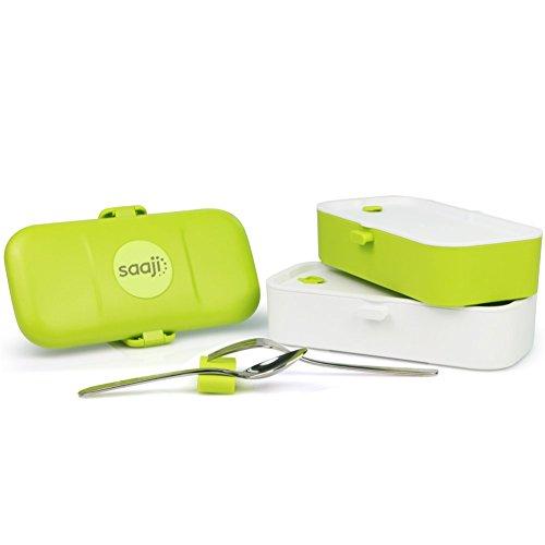 Lunch box/Boite bento NOMAD 1200 de Saaji - 2 compartiments hermétiques - couverts inox - Passe au micro-ondes, lave vaisselle et congélateur - Durable - Sûre - Sans BPA - pour adultes et enfants