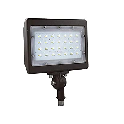 LEDMyplace 50W LED Flood Light with Knuckle Mount 6250 Lumens 5700K (Replaces 300W) Bronze Finish Outdoor Security Light cUL,DLC Listed IP65 Rated…