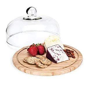 Meneflix Cake Stands Cake Tray Transparent Glass Cover Bamboo Wood Tray Home Cake Pan Fruit Dessert Tray Storage Tray with Cover