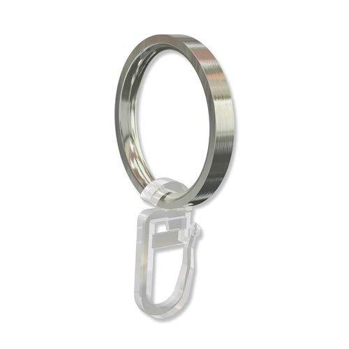 INTERDECO Gardinenringe mit Faltenhaken, Ringe in Edelstahl Optik für Gardinenstangen 16 mm Ø (24 Stück)