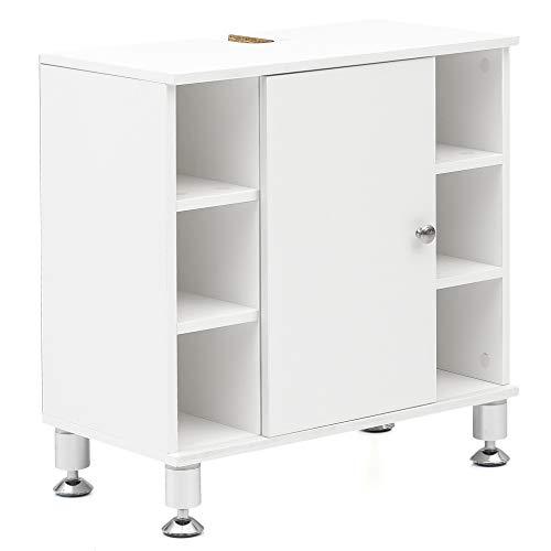 FineBuy Waschbeckenunterschrank 60 x 64 x 32 cm mit Tür & 6 Ablagefächer Weiß | Waschtischunterschrank | Badezimmermöbel Unterschrank Bad