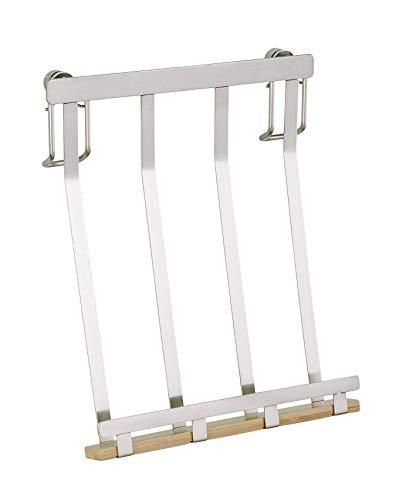 WENKO Tablethalter Premium - Ständer Halter für Tablets, E-Reader, Smartphones und Kochbücher, vernickeltes Metall, 19 x 23 x 7.5 cm, Silber matt