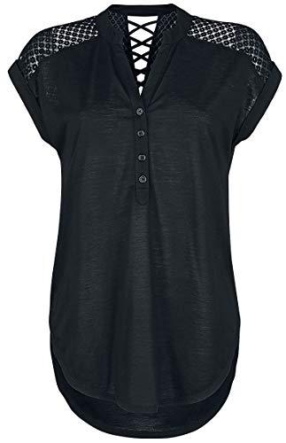 Rotterdamned Heeze - Back Lace Wide Slub Jersey Tee T-shirt zwart 3XL 100% polyester Basics