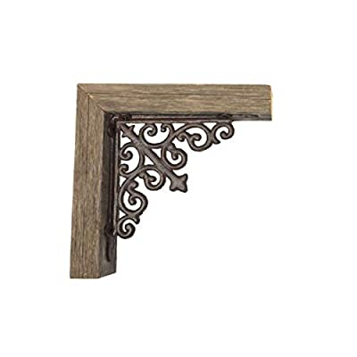 BarnwoodUSA | Set of 2 Farmhouse Corbels with Metal Brackets for Door Way Corners, Counter Top, Shelves | 100% Up-Cycled Reclaimed Wood
