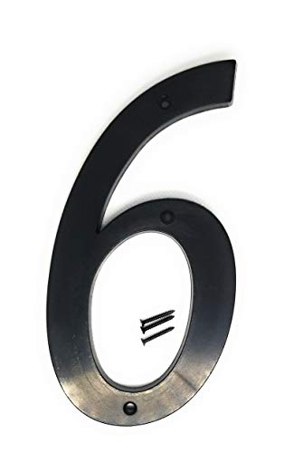 6 Inch House Number Home Address Number Street Numbers for Outdoor Indoor Exterior Building Apartment Yard Farmhouse Black Hard Plastic, ABS, UV Resistant Number 0-9 Letter A-B-C (6)