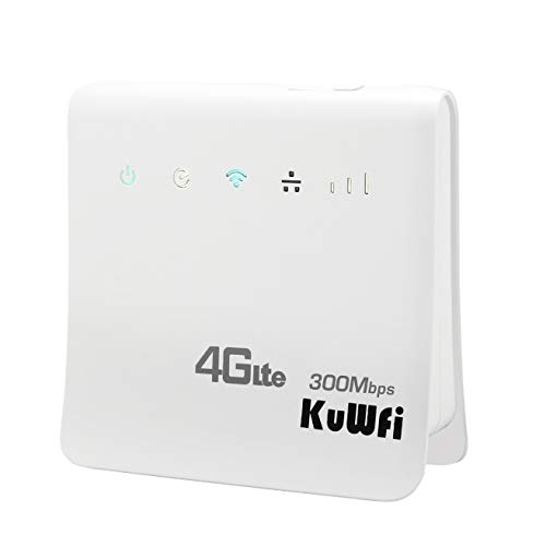 KuWFi 4G WiFi Router Unlocked 300Mbps 4G LTE CPE Mobile WiFi Wireless Routers for SIM Card Slot with LAN Port Support Caribbean,Europe,Asia, Middle East & Africa[Not for USA]