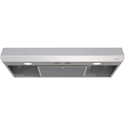 Broan-NuTone BKSA130SS Sahale Range Hood with Light Exhaust Fan for Under Cabinet, 250 CFM, 30-Inch, Stainless Steel