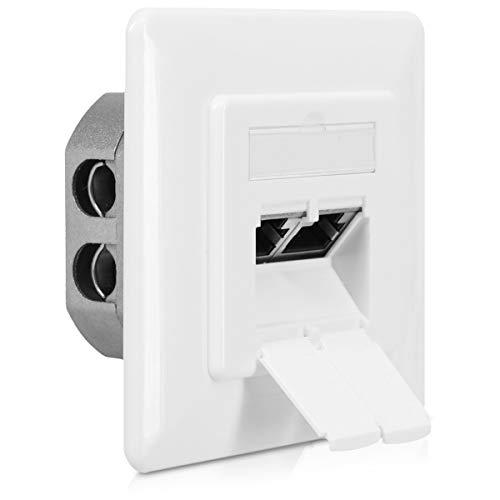 kwmobile Caja de Red RJ45 para Pared - Enchufe Empotrado para Cables de Internet Tipo CAT6A - Roseta empotrable para Ethernet Internet con 2 Puertos