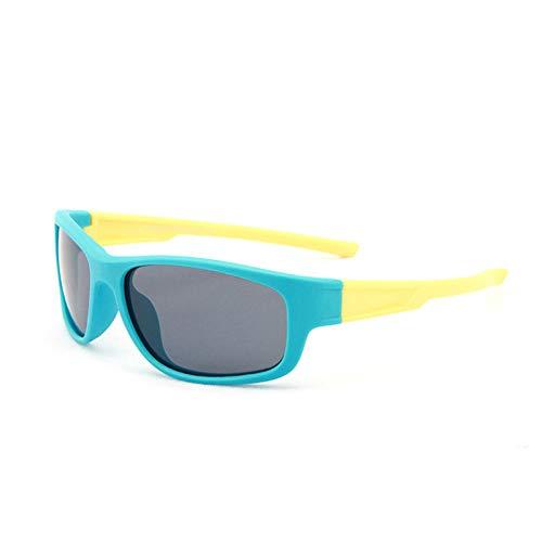 Espejo de tinta polarizada gafas deportivas europeas y americanas niños parasol anti-UV gafas de sol-azul marco amarillo pierna_púrpura