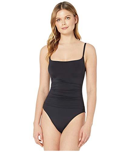 La Blanca Women's Plus Size Island Goddess Rouched Body Lingerie Mio One Piece Swimsuit, Black, 18W