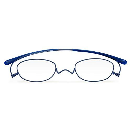 [薄型老眼鏡ペーパーグラス] マットカラー「オーバル」ネイビー (+1.50/テンプルチップタイプ) 携帯用ケース付き 財布に入る老眼鏡 栞(しおり)型リーディンググラス メンズ レディース プレゼントギフト 鯖江 1年間保証 001MATNV150-TT