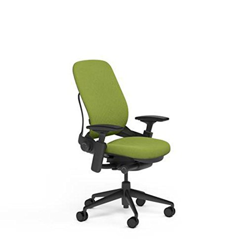 Steelcase Leap Desk Chair in Buzz2 Meadow Green Fabric - Highly Adjustable Arms - Black Frame and Base - Standard Carpet Casters