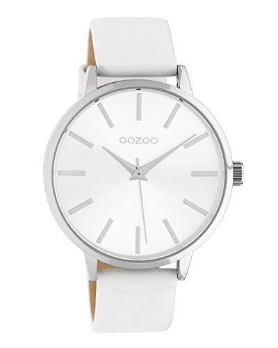 Oozoo Damenuhr mit Lederband 42 MM Silberfarben/Weiß C10610