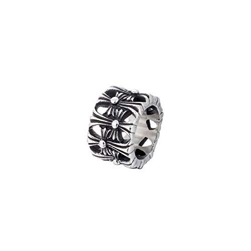 CRYPIN Punk Gothic Extra Wide Cross Personality Titanium Steel Casting Men's Ring 7-12