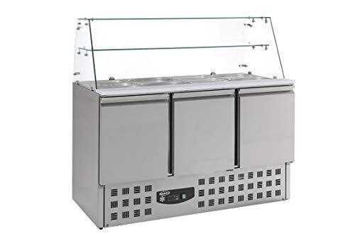 Saladette réfrigérée 4 GN 1/1 - Vitrine en verre 3 portes - Combisteel - R600A 3 Portes Pleine
