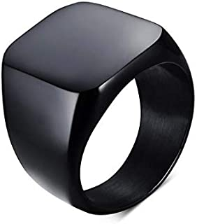 Amazing Solid Polished Stainless Steel Men Ring - Black Size 8