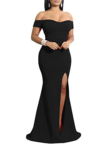 YMDUCH Womens Off Shoulder High Split Long Formal Party Dress Evening Gown Black