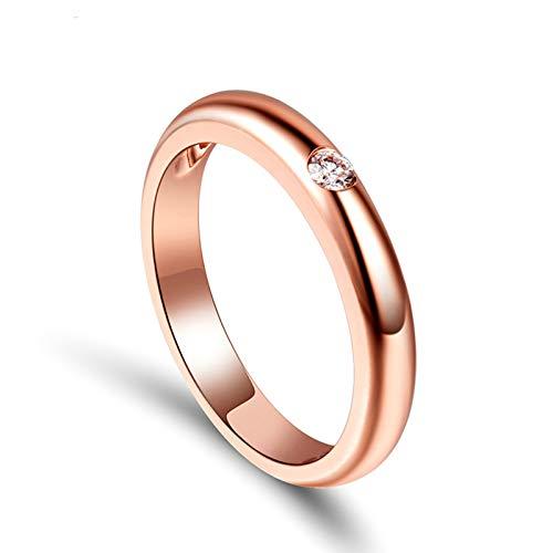 Daesar Anillos de Oro Rosa 18K Para Mujer,Redondo Simple Diamante 0.05ct,Oro Rosa Talla 11