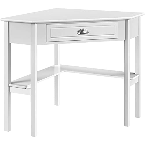 Yaheetech Wood Triangle Computer Desk Corner Vanity with Large Drawer & Storage Shelves, 90 Degrees Writing Desk Laptop PC Table for Home Office, Study Workstation for Small Space, White