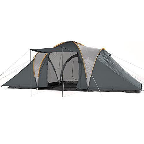 Skandika Kuppelzelt Daytona 6 Personen | Familienzelt mit 3 Schlafkabinen, 3000 mm Wassersäule, 195 cm Stehhöhe, Moskitonetze, Sonnensegel | Campingzelt für Familie und Freunde (grau)