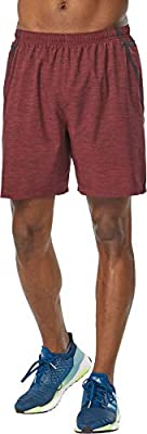 R-Gear Men's 7-Inch Running Shorts with Multiple Pockets and Inner Brief Liner | Set The Pace, Maroon/Black, XL