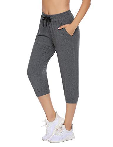 COOrun Jogginghosen für Damen Grau 3/4 Sporthose Stretch Sweathosen Outdoor Capri Bündchen Hose mit Taschen L