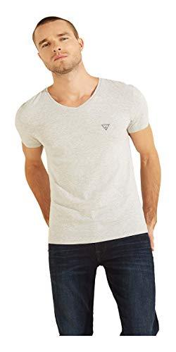 Guess - Camiseta para hombre con logotipo de cuello en V gris XXL