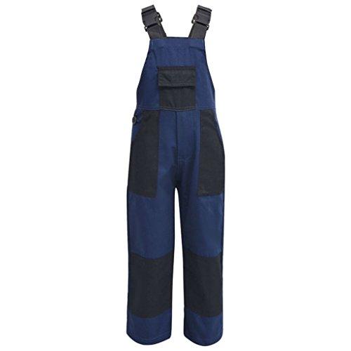 vidaXL Kinderlatzhose Arbeitshose Arbeitslatzhose Kinderhose Größe 158/164 Blau