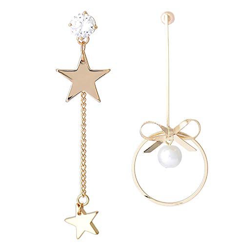 SMENGG Orecchino Orecchini Moda Pendenti Asimmetrici Lunghi in Argento Sterling con Perle a Forma di Stella