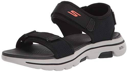 Skechers Men's Gowalk 5 Cabourg-Performance Walking Sandal Sneaker, Black/Orange, Numeric_11