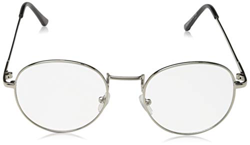 Sunbo Unisex Round Metal Frame Clear lens Vintage Retro Geek Fashion Glasses Specs Silver(Size: One Size)
