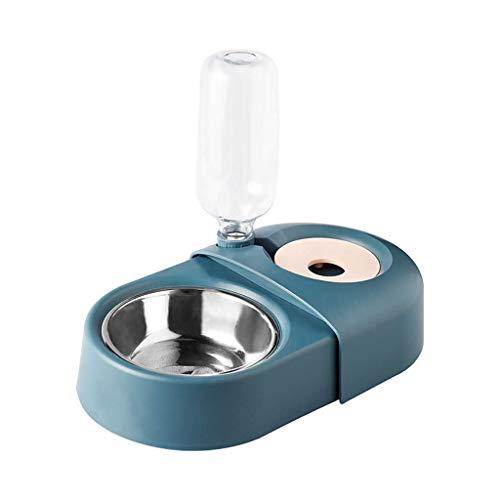 TEAYASON Cuencos dobles para gatos y perros, alimentador automático de alimentos para mascotas, platos de riego pequeño, mediano, bandeja de acero inoxidable, botella extraíble (color: blanco), azul