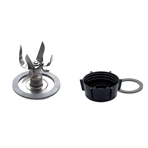 Oster 004980-050-000 - Cuchilla 6 puntas con anillo de sellado (picador de hielo) + 004902-050-000 - Base de batidora de vaso (color negro) y anillo de sellado
