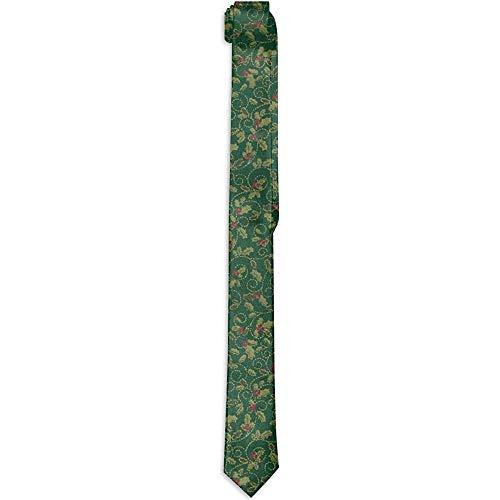 Cravatte da uomo tinta unita Slim Tie Business Causal - Tessuto natalizio verde agrifoglio metallico