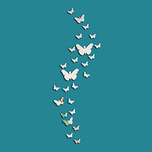 Ulable Paquete de 25 pegatinas de pared de espejo de mariposa 3D acrílico decoración espejo adhesivo de pared moderno para el hogar, sala de estar, dormitorio, plata (mariposa)