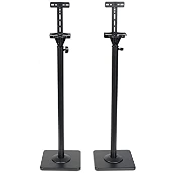 VideoSecu One Pair Height Adjustable Speaker Stands Mounts Heavy Duty Floor Stands