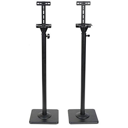VideoSecu One Pair Height Adjustable Speaker Stands Mount Floor Stands Surround Sound Satellite Small Bookshelf Speakers Stand MS08B DA8