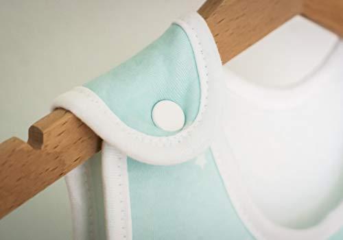 Ehrenkind® Babyschlafsack Rund | Bio-Baumwolle | Ganzjahres Schlafsack Baby Gr. 50/56 Farbe Mint mit weißen Sternen - 4