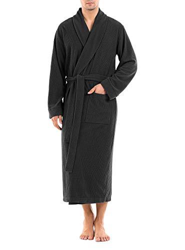DAVID ARCHY Men's Plush Robe Ultra Soft Waffle Fleece Shawl Collar Big and Tall Long Bathrobe Cozy Hotel Robe (XL, Dark Gray)