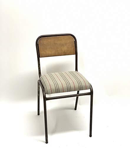 Sillas Comedor - Madrid - 85 x 45 x 45 cm - Addecor - Estilo Industrial Vintage - Hierro, Madera Maciza y Tela - Color Industrial - Diseño Loft - Sillas Nórdicas